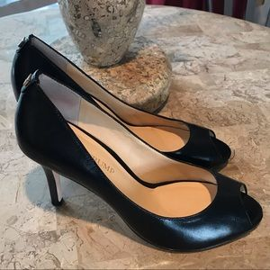 Ivanka Trump Black Peep Toe Pumps